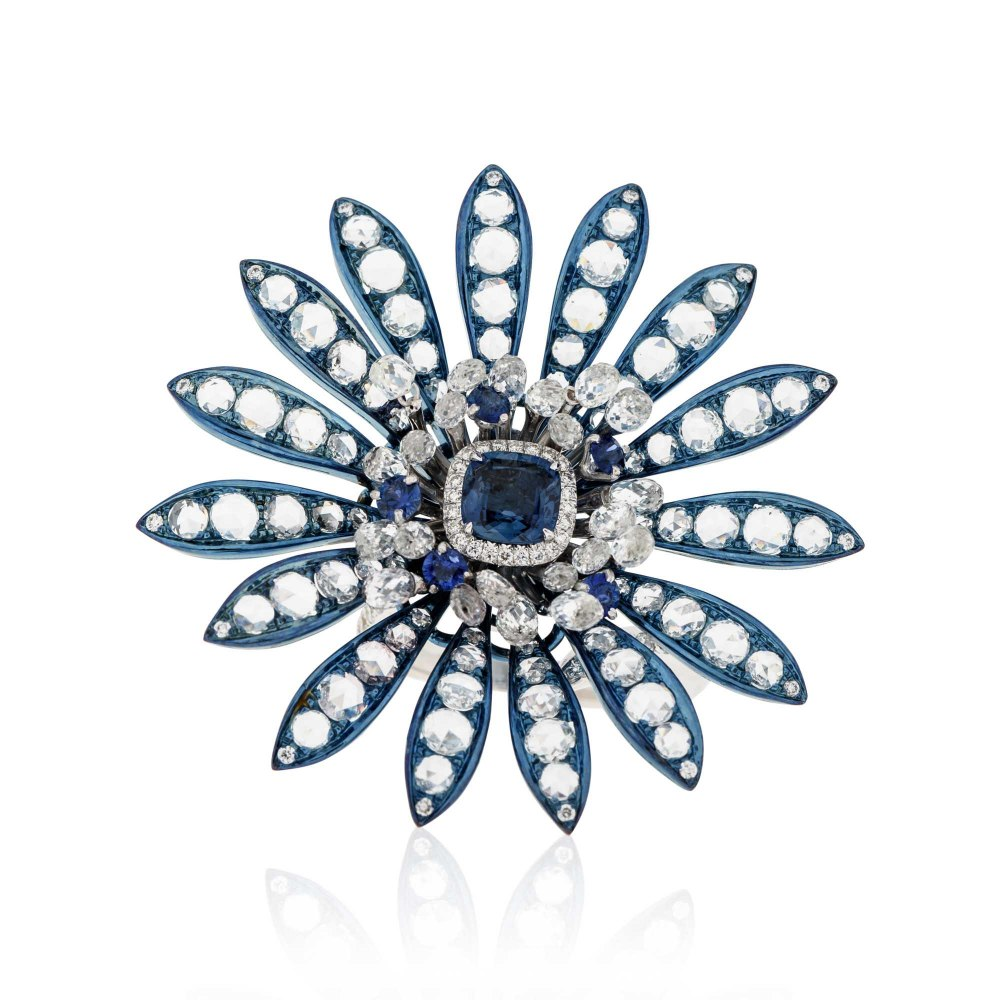 BUSATTI MILANO Sapphire & Diamond Flower Cocktail Ring DAE170802
