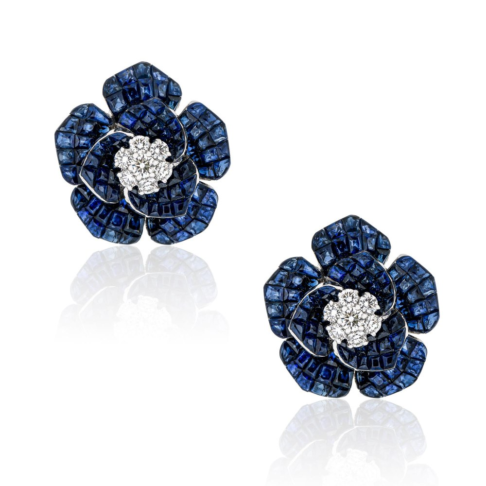 KESSARIS Sapphire & Diamond Flower Earrings SKE192901