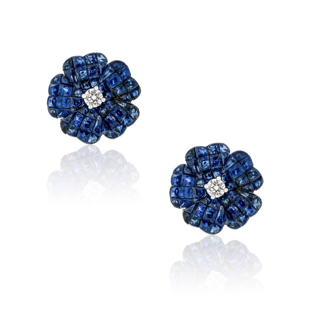 KESSARIS Sapphire Flower Earrings SKE192897