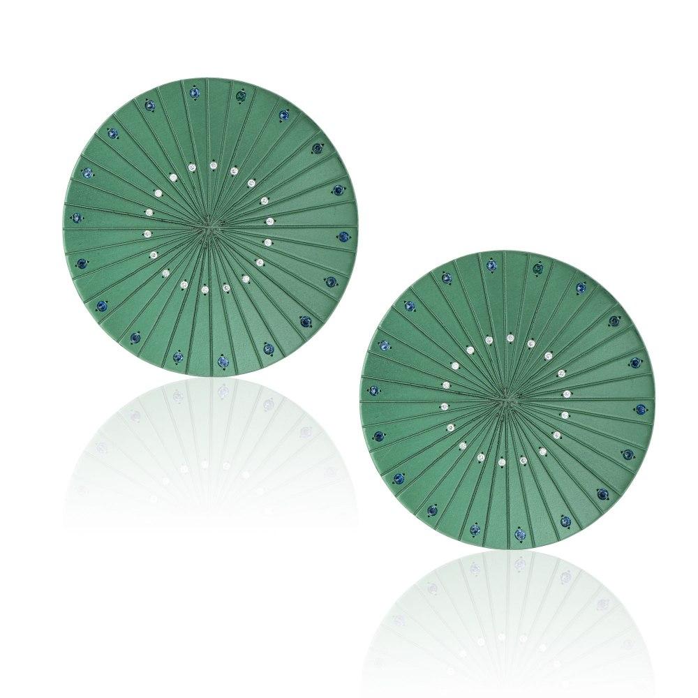 ANASTASIA KESSARIS Spacecraft Green Titanium Diamond and Sapphire Earrings SKP192010