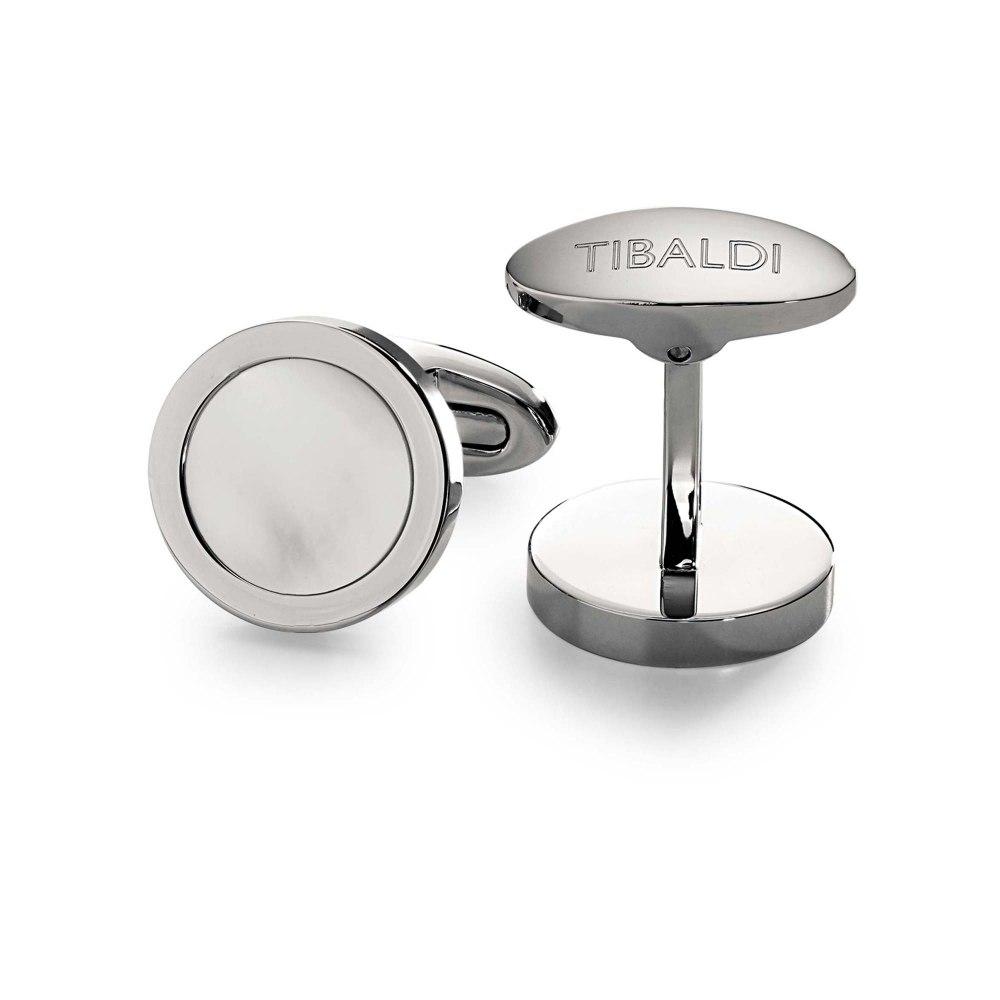 Kessaris-Tibaldi Round Mother of Pearl Cufflinks