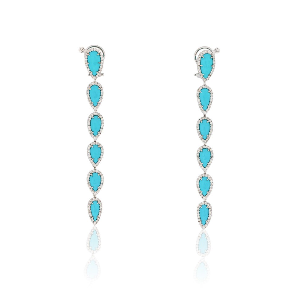 SUTRA Turquoise & Diamond Drop Earrings SKE181151