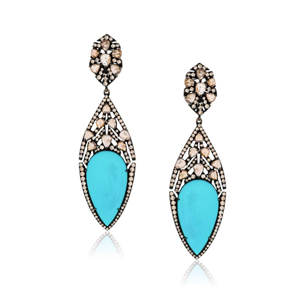 KESSARIS Turquoise Tear and Diamond Drop Earrings SKE150908