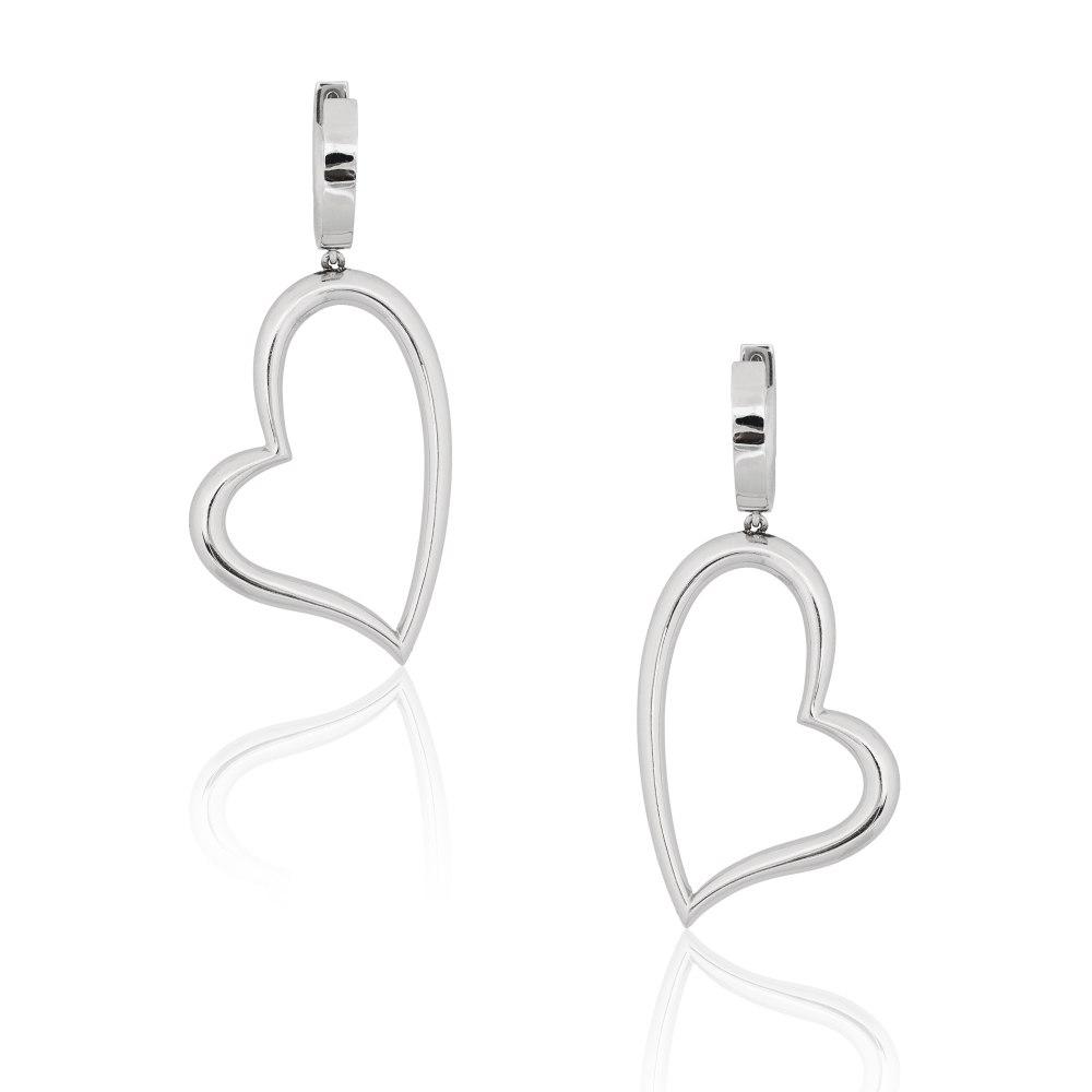 KESSARIS White Gold Heart Earrings SKE66176