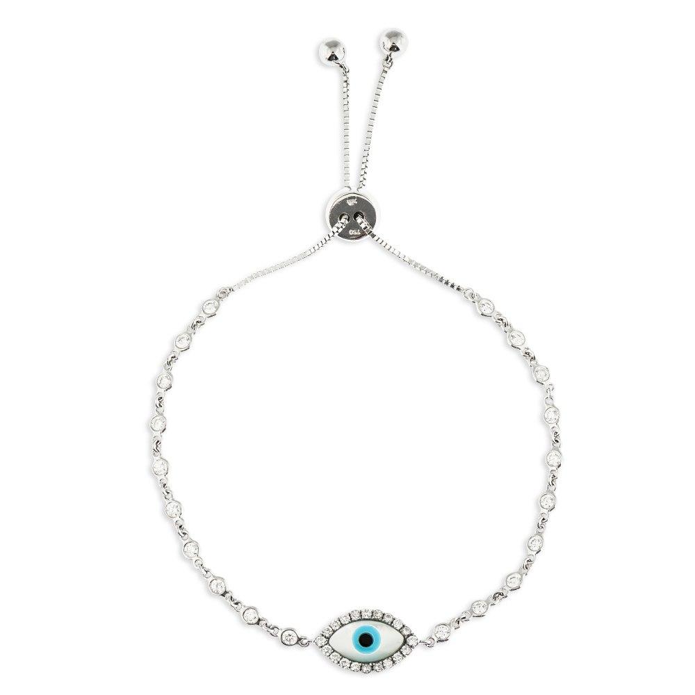 KESSARIS White Evil Eye Diamond Bracelet BRE190922