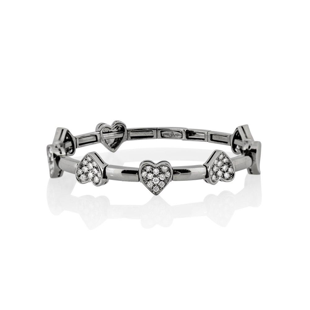 KESSARIS White Gold Diamond Heart Bracelet BRX045462