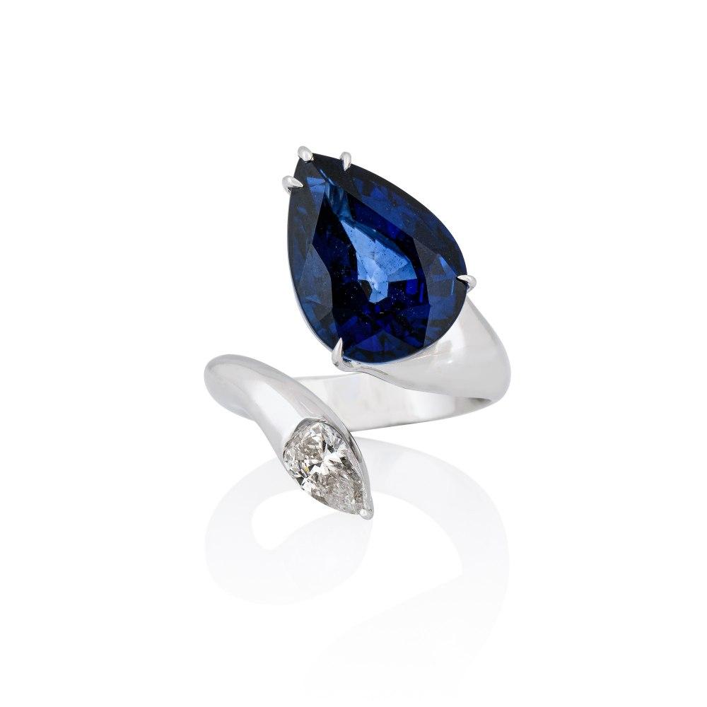 ANASTASIA KESSARIS White Gold Wrap Diamond Tanzanite Ring DAP200004