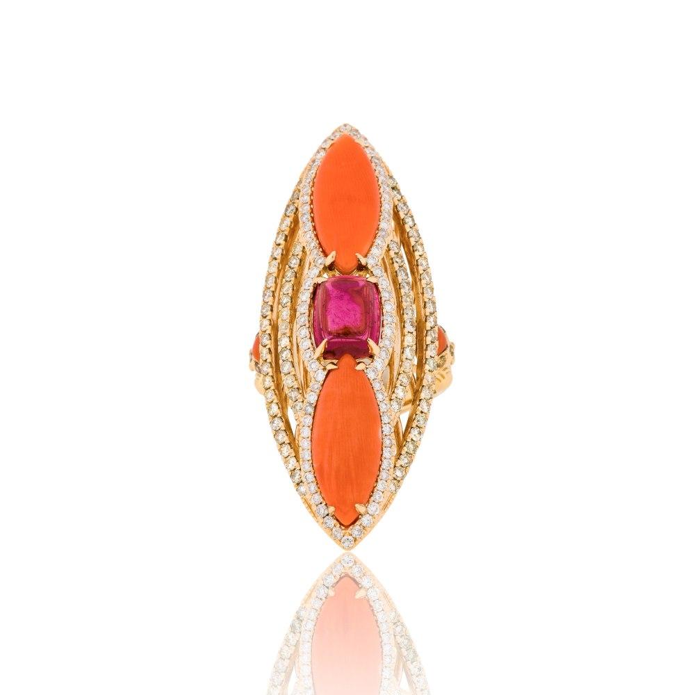 KESSARIS Yellow Gold Coral Diamond Ring DAE161169