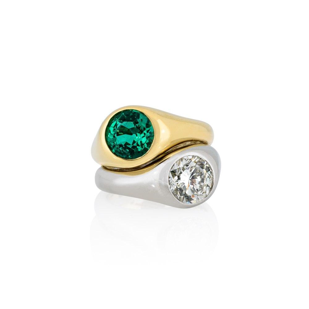 KESSARIS Yellow & White Gold Brilliant Diamond Emerald Ring M4327