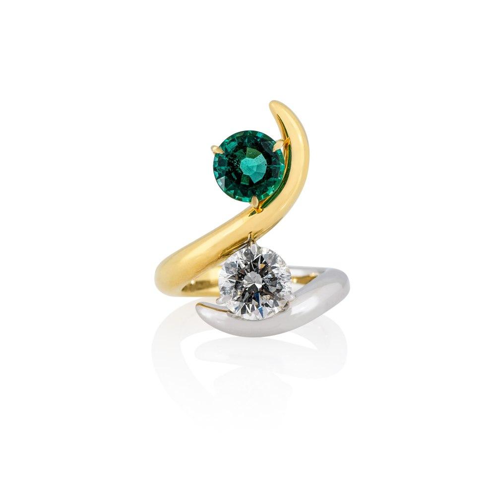 ANASTASIA KESSARIS Yellow & White Gold Wrap Brilliant Diamond Emerald Ring DAP192177