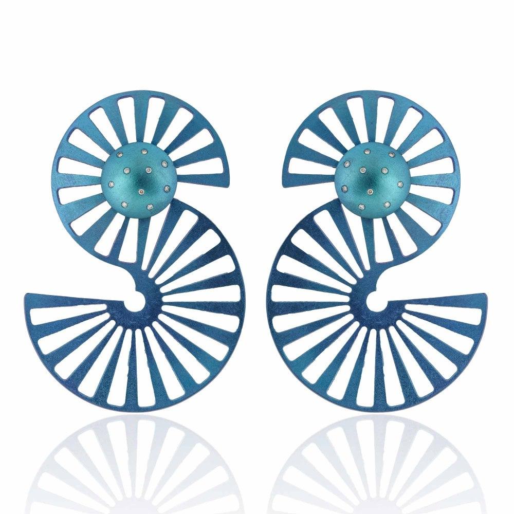 ANASTASIA KESSARIS Dancing Rails Blue Titanium Diamond Earrings SKP180401