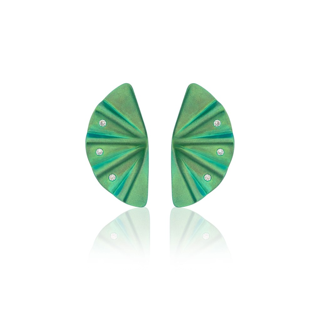 ANASTASIA KESSARIS Geisha Green Titanium and Diamond Earrings Medium KES_SKP180306-GREEN