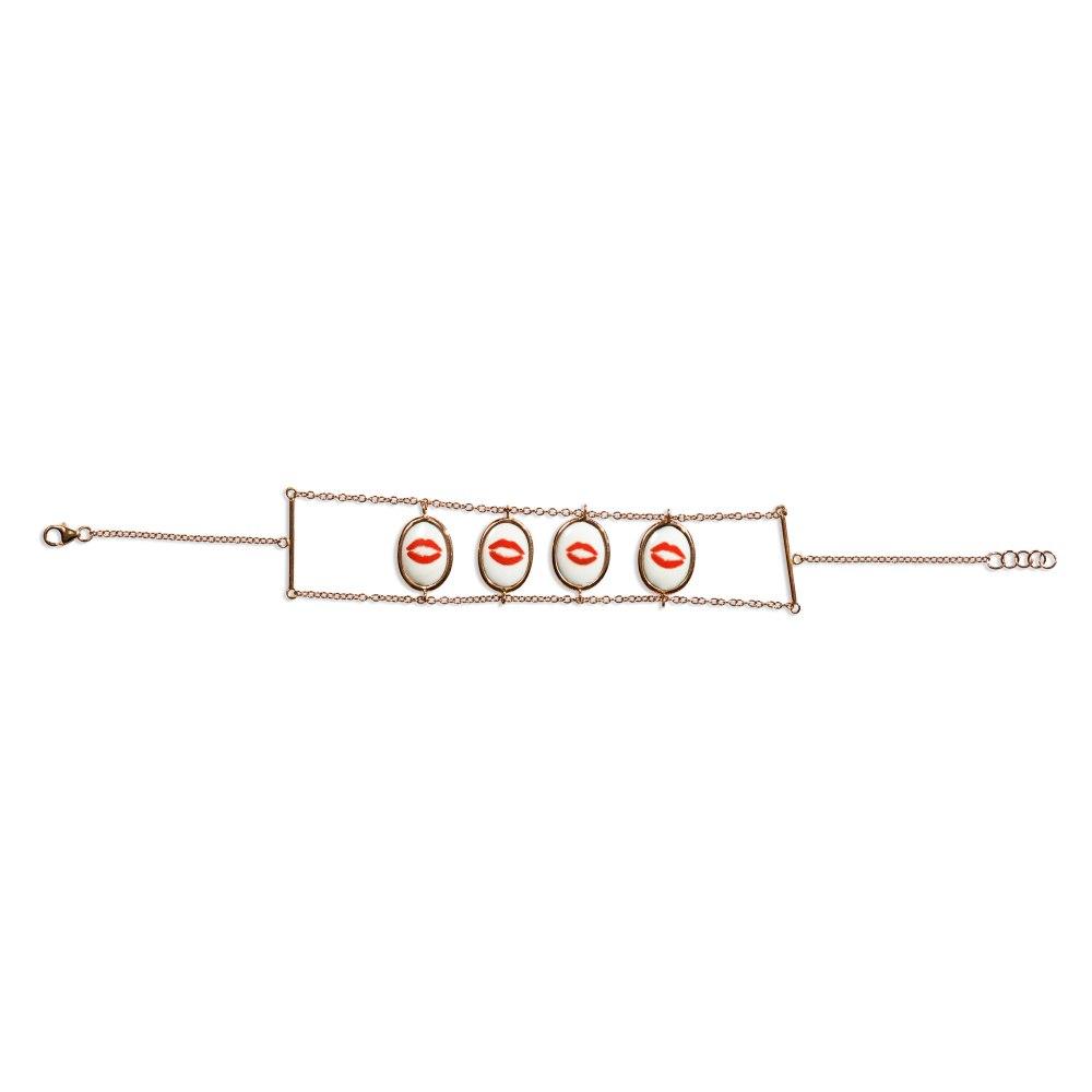 KESSARIS Lips Hearts Gold Two Sided Bracelet BRE190666