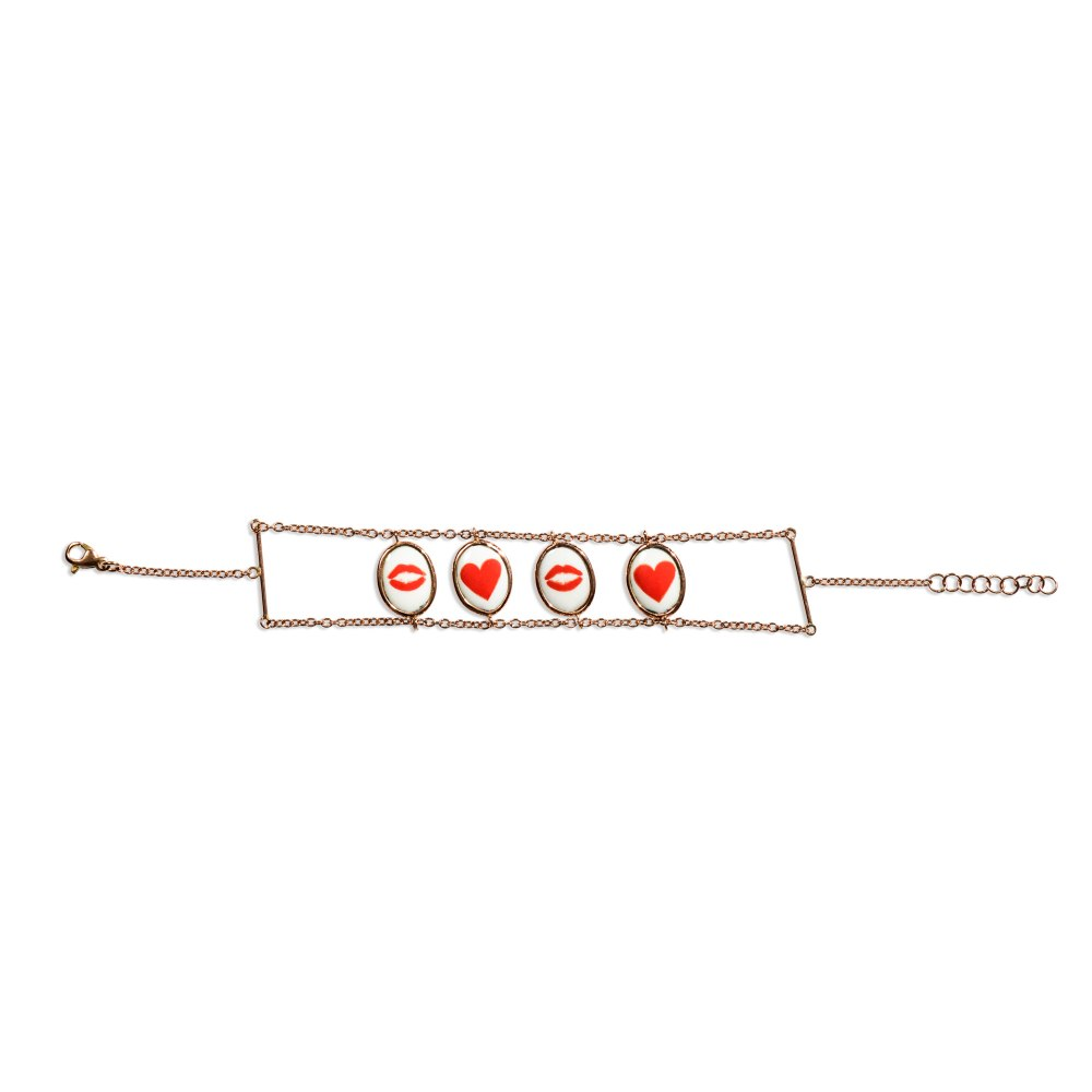 KESSARIS Lips Hearts LaLa Gold Two Sided Bracelet BRE190665