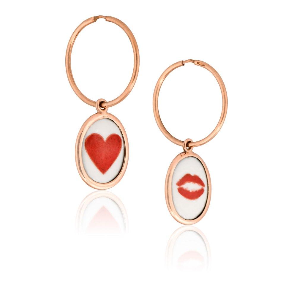 KESSARIS Lips Hearts Gold Two Sided Earrings SKE190669