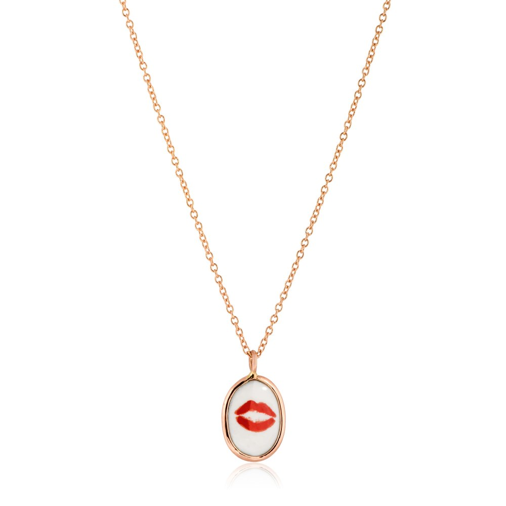KESSARIS Lips Two Sided Gold Necklace KOE190667