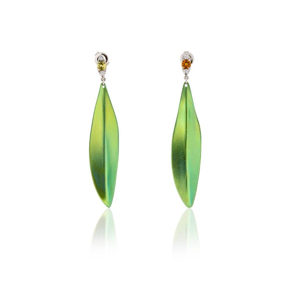 ANASTASIA KESSARIS Olive Leaves Titanium Diamond Earrings SKP180245