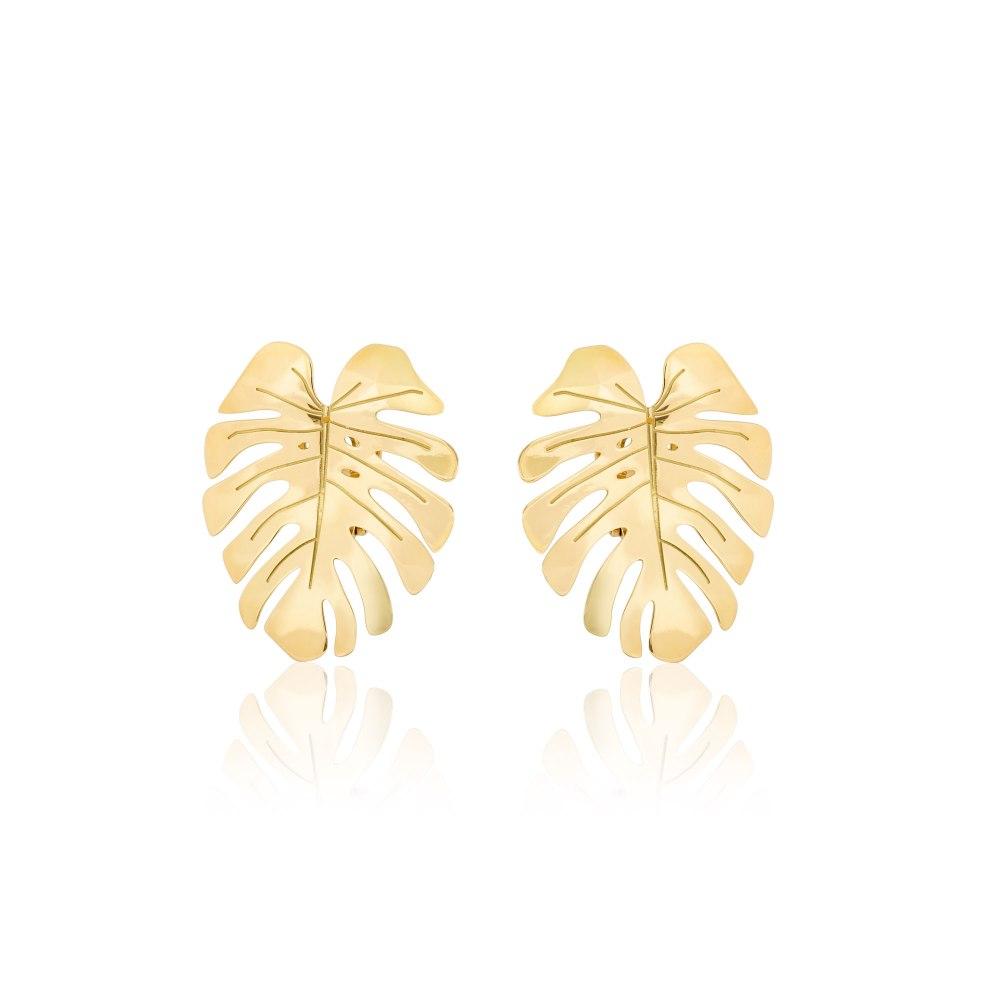 ANASTASIA KESSARIS Statement Gold Monstera Earrings SKP180267