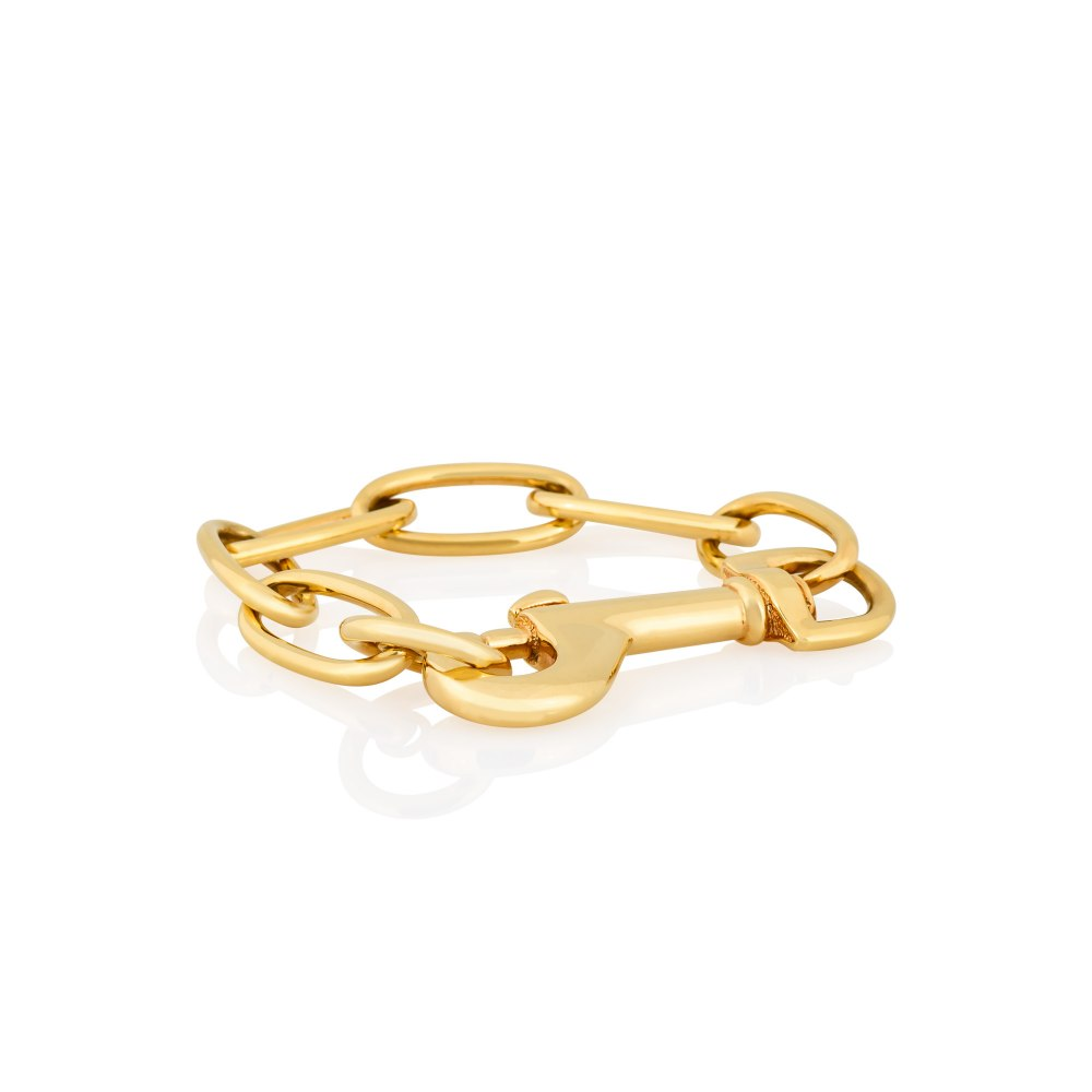 KESSARIS Yellow Gold Oval Link Bracelet BRE085529