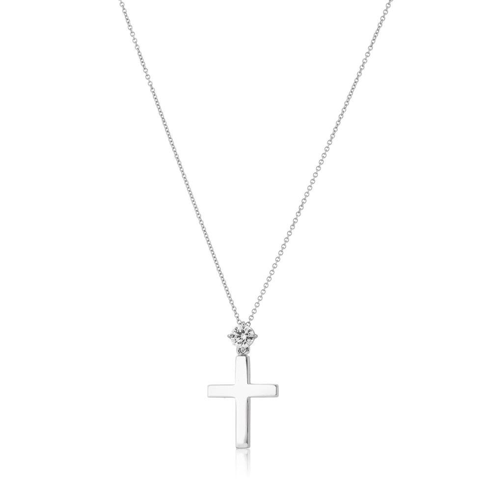 KESSARIS White Gold Diamond Cross Necklace KOP210474-WI