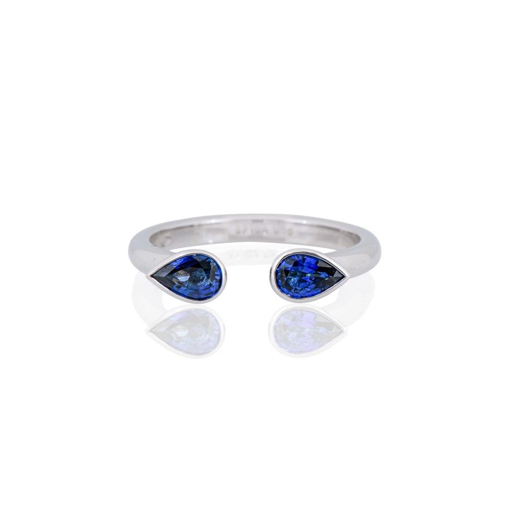KESSARIS Double Drop Sapphire Ring M4422
