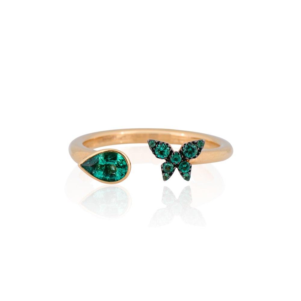 KESSARIS Butterfly Emerald Ring M4426
