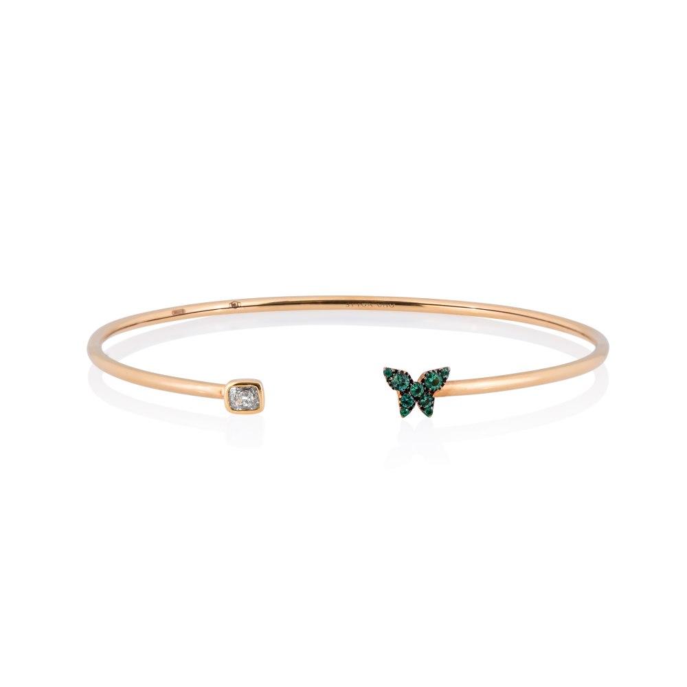 KESSARIS Butterfly Emerald Diamond Cuff Bracelet M4427