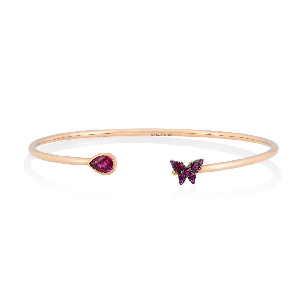 KESSARIS Butterfly Ruby Cuff Bracelet M4428