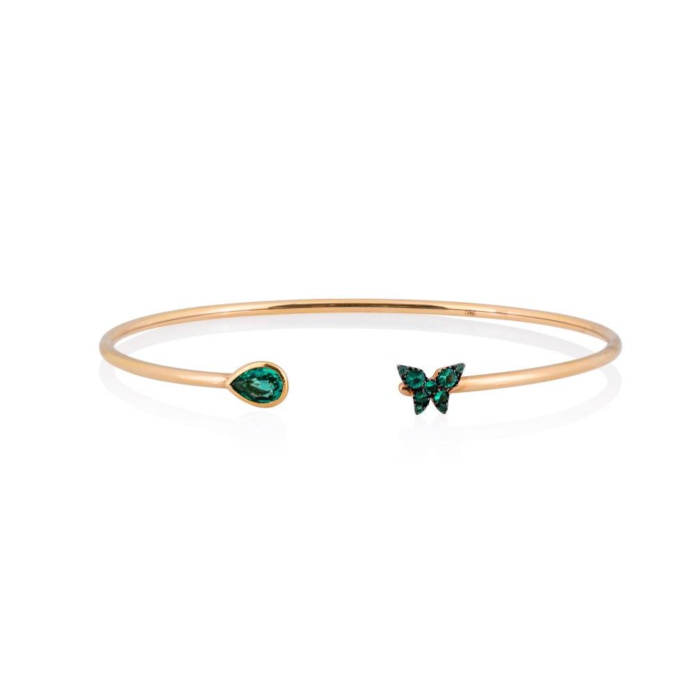 KESSARIS Butterfly Emerald Cuff Bracelet M4429