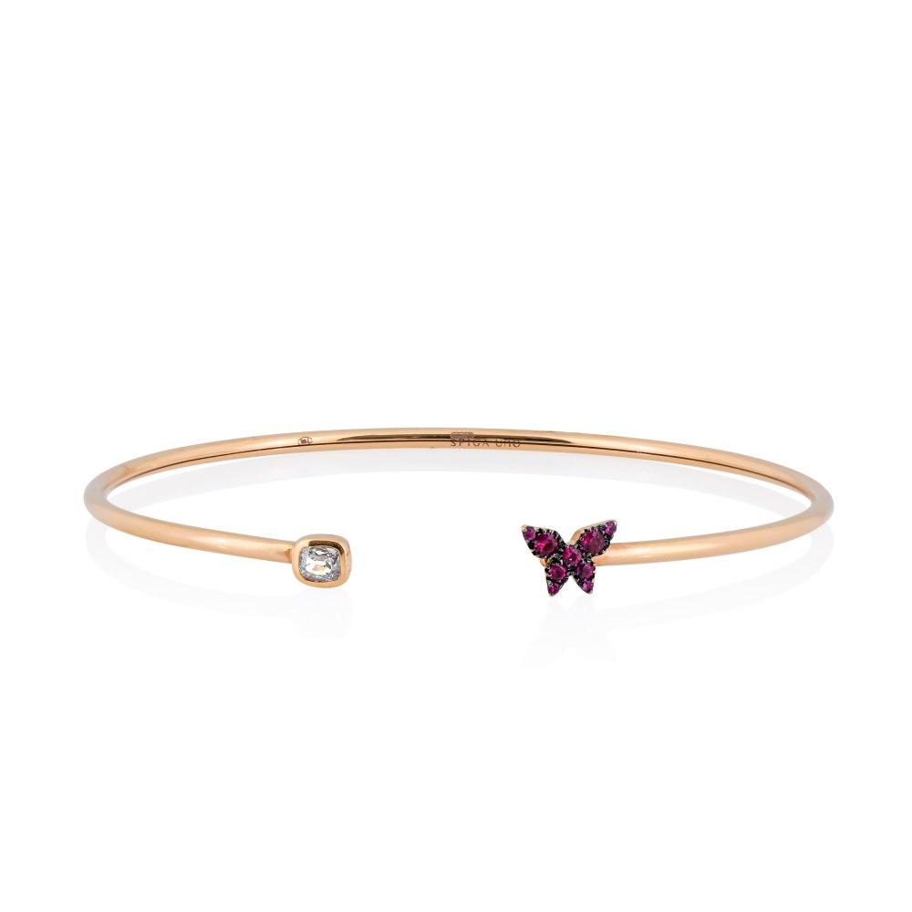 KESSARIS Butterfly Ruby Diamond Cuff Bracelet M4430