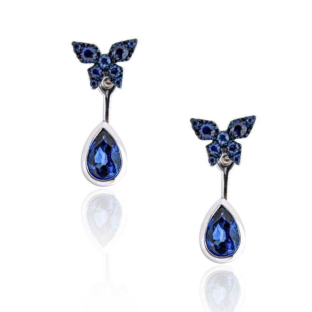 KESSARIS Butterfly Sapphire Ear Jacket Earrings M4438