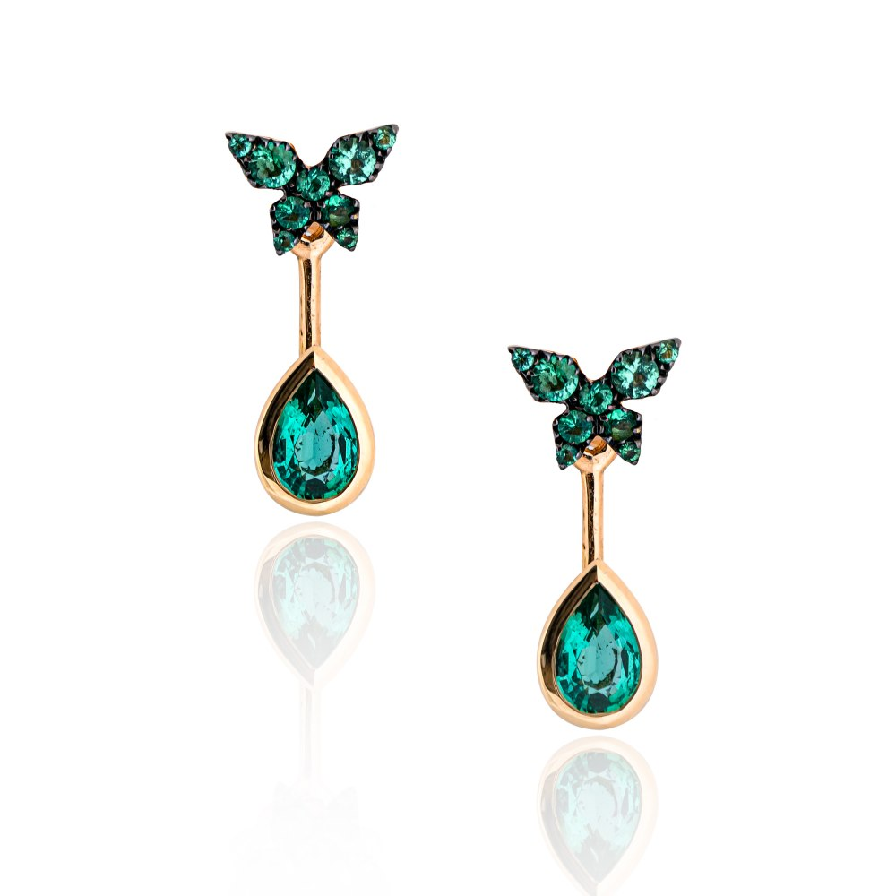 KESSARIS Butterfly Emerald Ear Jacket Earrings M4439