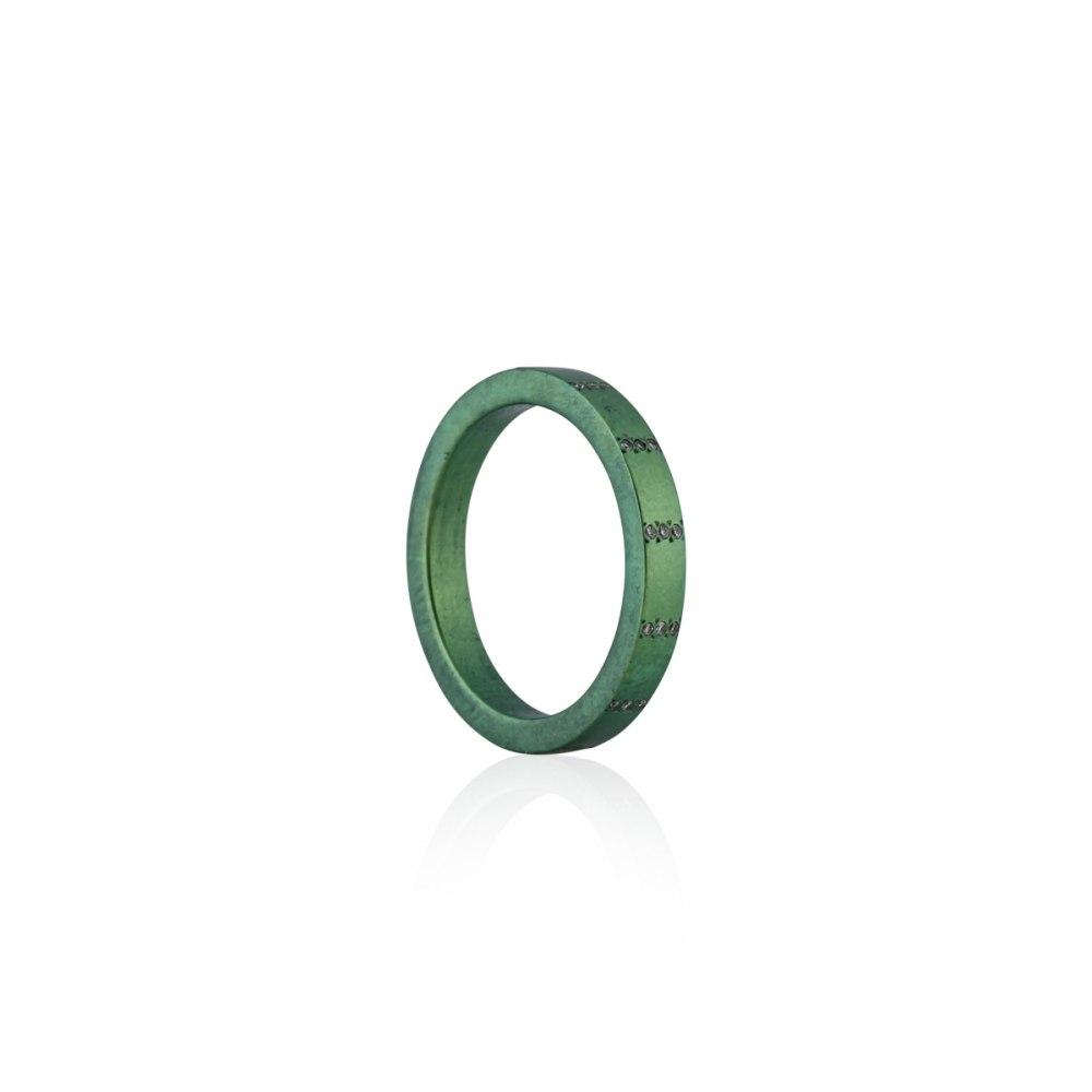 ANASTASIA KESSARIS Round and Around Green Titanium Diamond Ring DAE170903