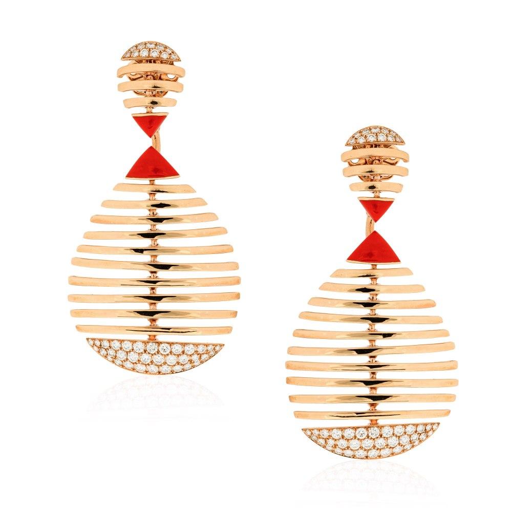 ETHO MARIA Rose Gold Ceramic Diamond Earrings SKE182904
