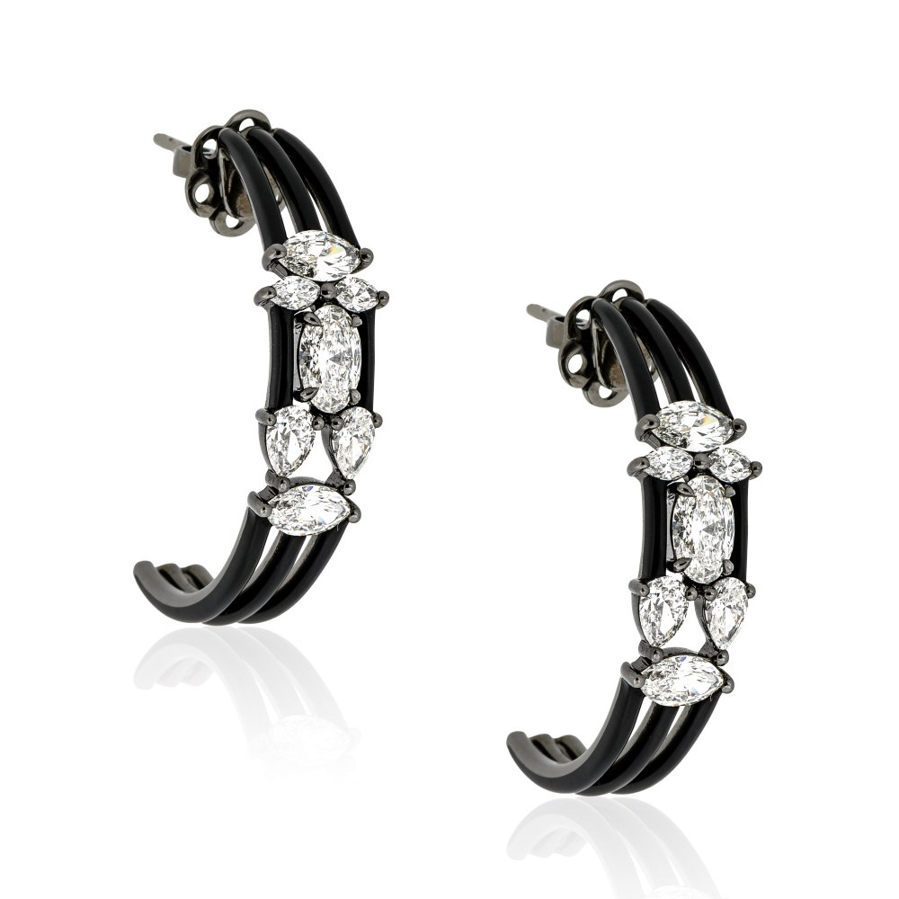 ETHO MARIA Black Rhodium Gold Diamond Earrings SKE182906