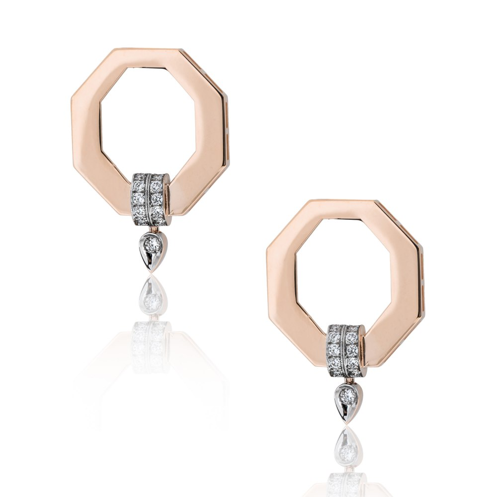 KESSARIS Geometric Gold Diamond Earrings SKE201031