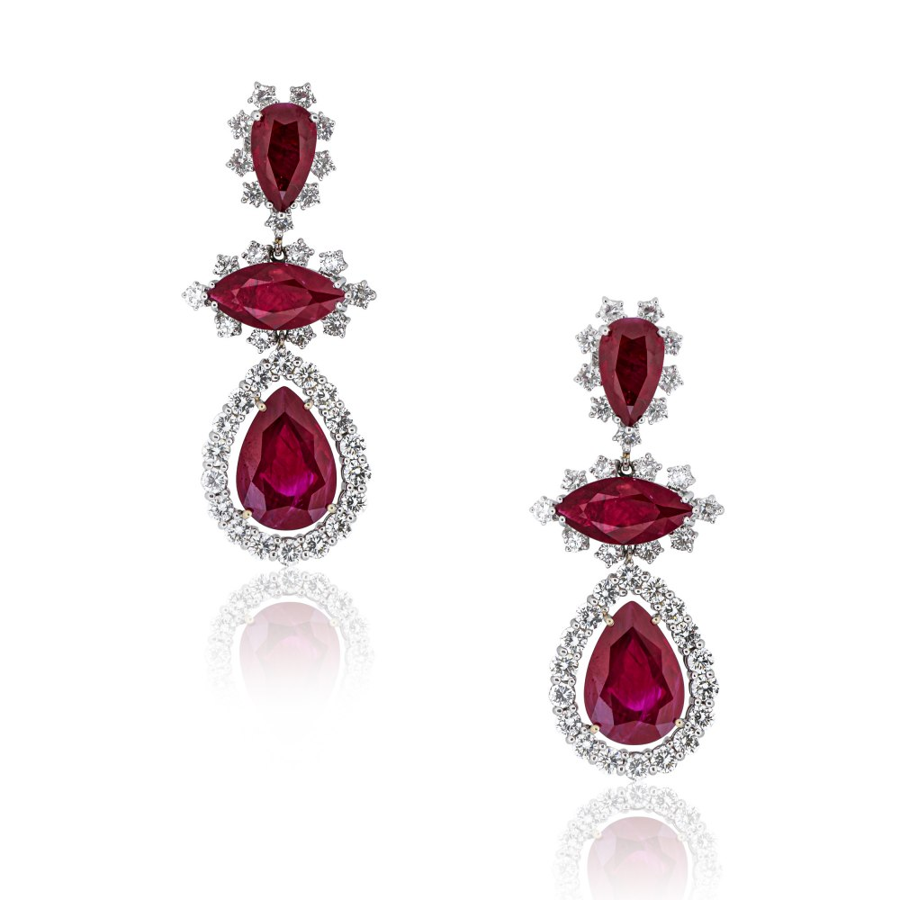 ANASTASIA KESSARIS Fancy Cut Ruby and Diamond Earrings SKP130387