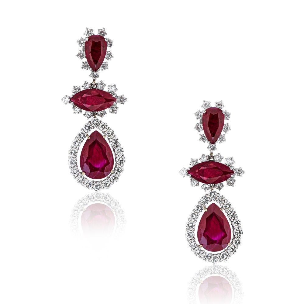 ANASTASIA KESSARIS Fancy Cut Ruby and Diamond Earrings SKP130387