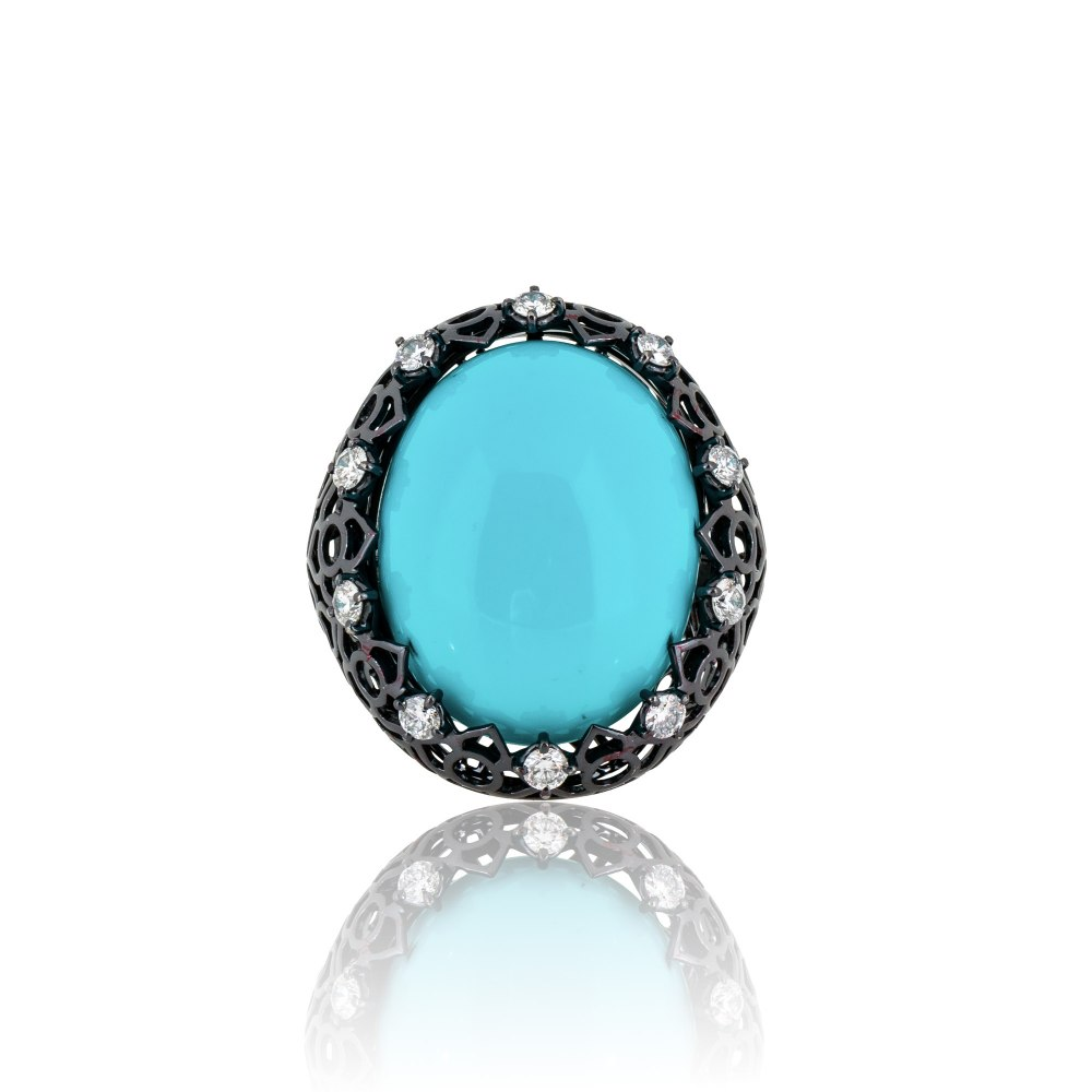 STAURINO FRATELLI Turquoise & Diamond Cocktail Ring DAP140976