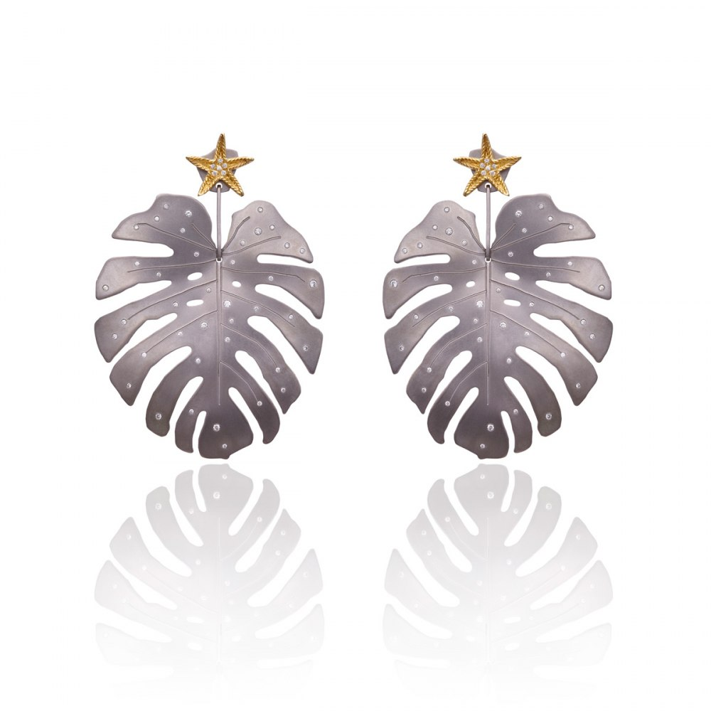 ANASTASIA KESSARIS Tropicalia and Starfish Graphite Titanium Earrings SKP180140-and-SKP93436