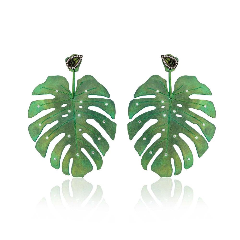 ANASTASIA KESSARIS Tropicalia Green Titanium Earrings with Diamond Studs SKP180405-and-SKE161594