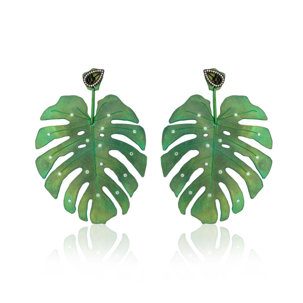 ANASTASIA KESSARIS Tropicalia Green Titanium Earrings with Diamond Studs SKP180405-and-SKE161594