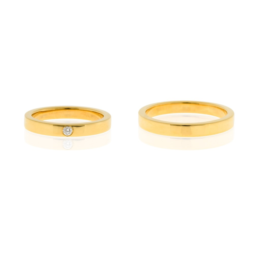 KESSARIS Diamond Flat Wedding Bands X21