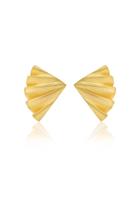 Plisse Gold Matte Earrings