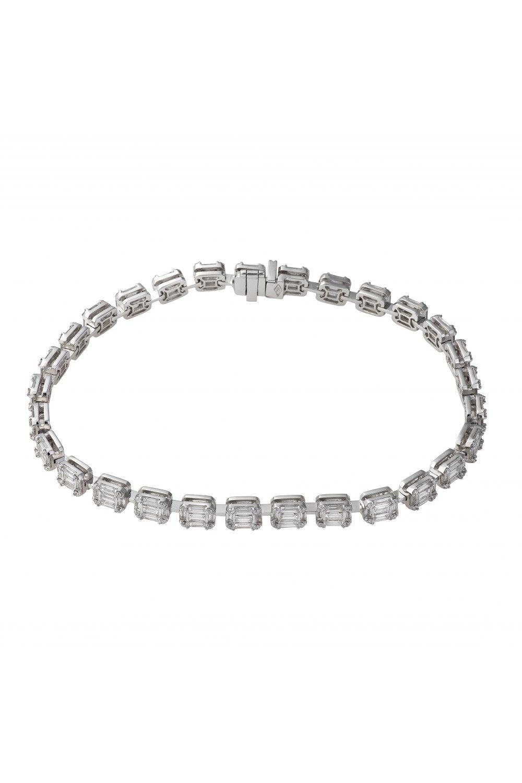 Diamond Cluster Multiple Emerald Tennis Bracelet