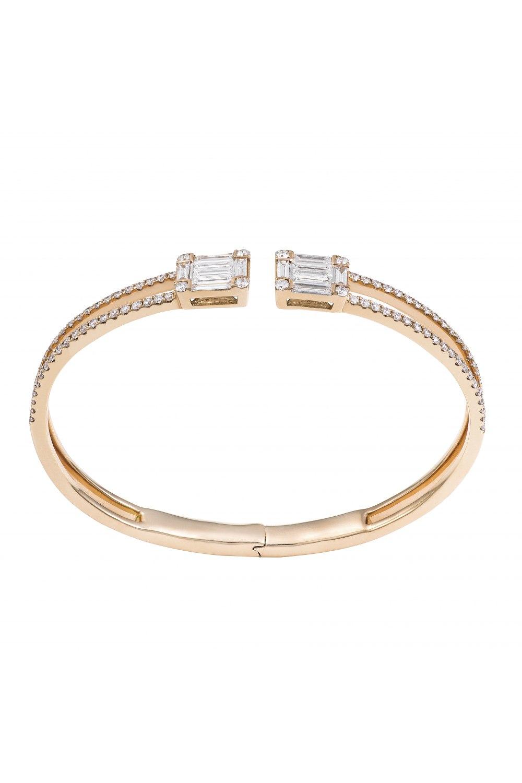 Diamond Cluster Double Emerald Cuff Bracelet
