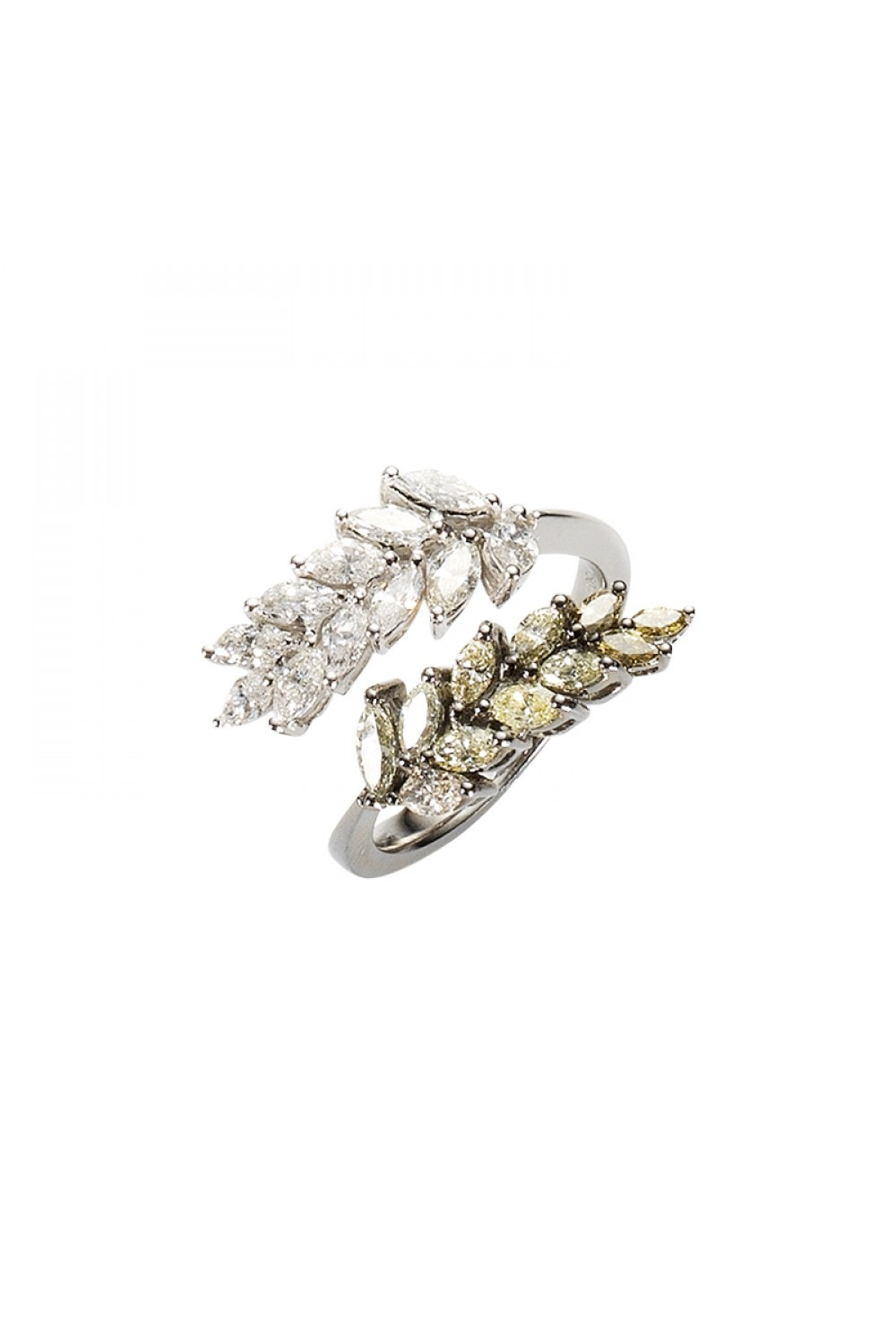 White & Fancy Brown Marquise Diamond Ring