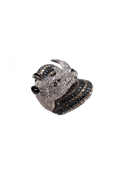 Black, White & Brown Diamond Rhinoceros Ring