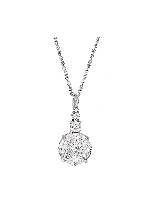 Diamond Cluster Round Pendant Necklace
