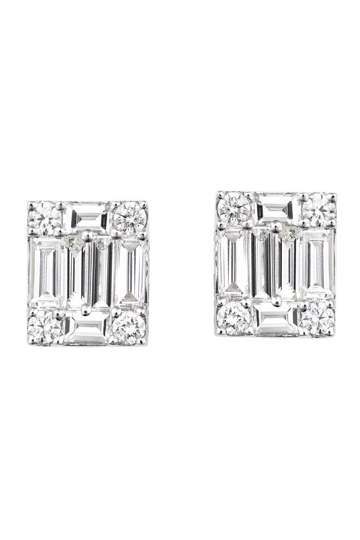 Diamond Cluster Emerald Earrings